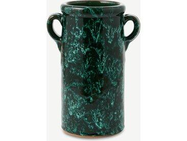 Emma Cerasulo, petit pot porte-ustensiles à glaçure réactive mouchetée, noir et vert terracotta