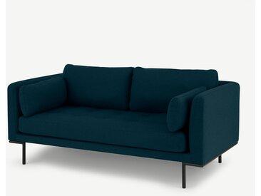 Harlow, grand canapé 2 places, laine bleu canard
