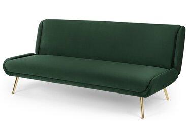 Moby, canapé clic-clac, velours vert sapin et pieds en laiton
