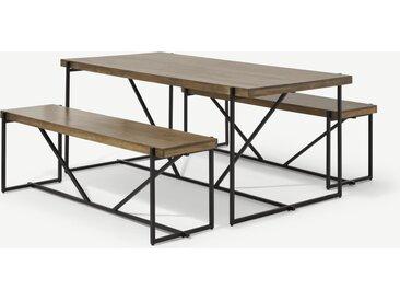 Morland, ensemble table et 2 bancs, bois de manguier