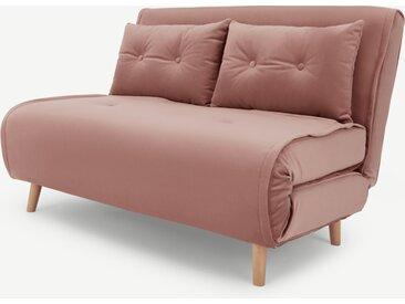 Haru, petit canapé convertible, velours rose vintage