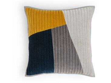 Giacomo, coussin en velours patchwork 50 x 50 cm, bleu marine, gris et jaune moutarde