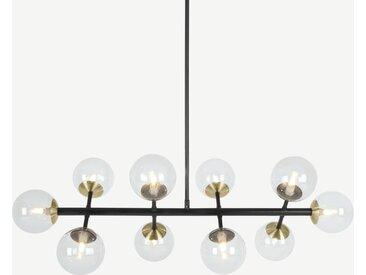 Globe, grand lustre 10 ampoules, laiton patiné et verre fumé clair