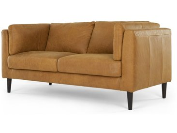 Lindon, grand canapé 2 places, cuir marron clair