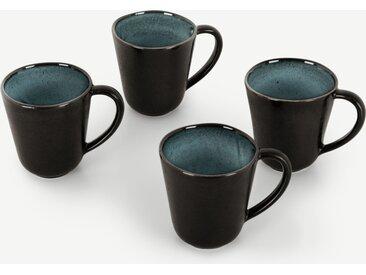 Krisha, lot de 4 tasses en grès à glaçure réactive, turquoise et gris charbon