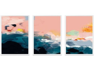Abstract Landscape, lot de 3 illustrations en couleur et cadres blancs format A3