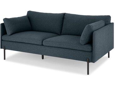 Zarina, grand canapé 2 places, bleu Égée et pieds noirs