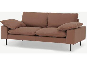 Fallyn, grand canapé 2 places, cuir nubuck brun