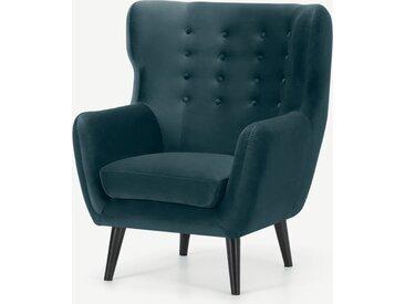 Kubrick, fauteuil bergère, velours bleu acier et pieds noirs