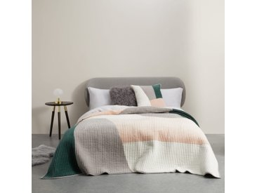 Giacomo, couvre-lit patchwork en velours, vert paon et rose poudré