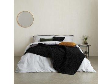 Julius, couvre-lit 225 x 220 cm en velours, noir