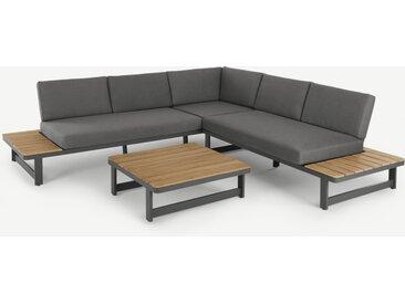 Topa, ensemble canapé d'angle et table basse d'extérieur en métal gris, acacia et tissu gris