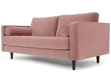 Scott, grand canapé 2 places, velours de coton rose poudré