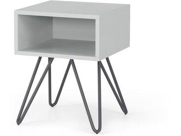 Made Essentials - Beru, table de chevet avec compartiment de rangement, bois gris clair et pieds en métal gris charbon