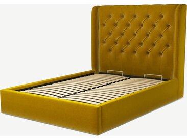 Romare, lit coffre double (140 x 200) avec sommier à lattes, velours jaune safran