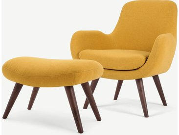 Moby, fauteuil et repose-pieds, jaune d'or
