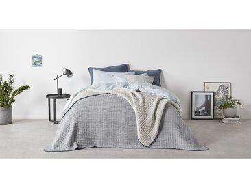 Albin, couvre-lit en chambray 100 % coton, 225 x 220 cm, gris et indigo