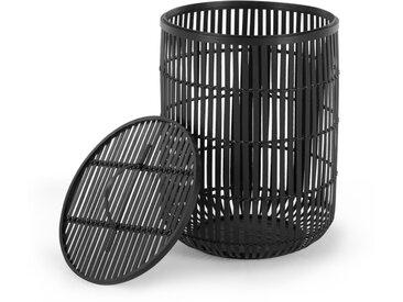 Kurino, panier à linge à couvercle en bambou, noir