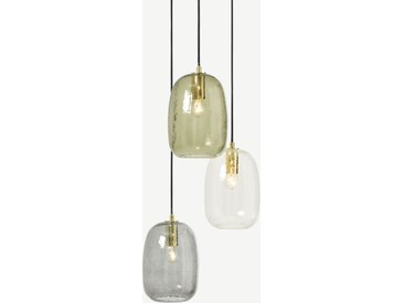 Lykke, lustre 3 ampoules, multicolore et laiton