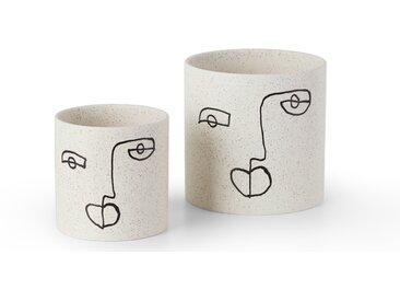 Salo, lot de 2 cache-pots peints à la main, noir et blanc
