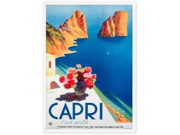 Capri, affiche touristique en couleur et cadre blanc format A1
