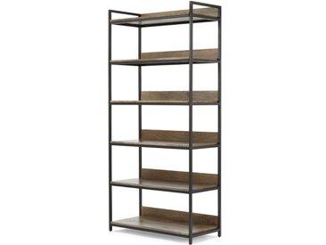 Lomond, grande étagère modulable, bois de manguier et métal noir