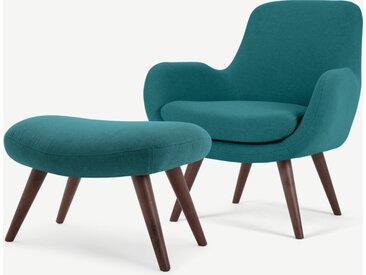 Moby, fauteuil et repose-pieds, bleu minéral
