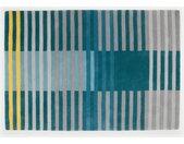 Weber, tapis tufté à rayures 160 x 230 cm, bleu pétrole