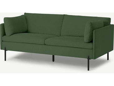 Zarina, grand canapé 2 places, velours côtelé vert prairie