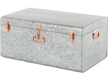 Pandora, grand coffre métallique en zinc, argenté