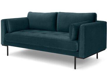 Harlow, grand canapé 2 places, velours bleu acier