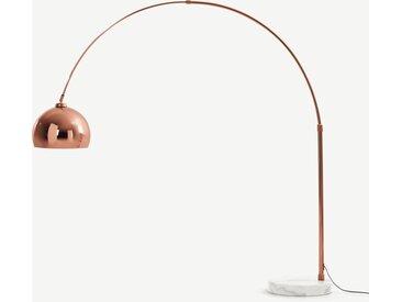 Bow, grand lampadaire arqué, cuivre et marbre blanc