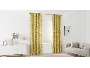 Trio, paire de rideaux à œillets 135 x 260 cm, jaune moutarde