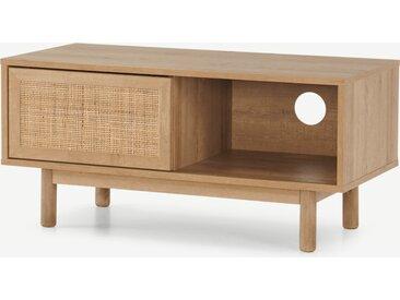 Pavia, meuble TV compact, rotin naturel et effet chêne
