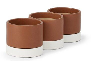 Skyra, lot de 3 cache-pots d'intérieur en faïence avec soucoupes, terracotta