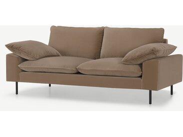 Fallyn, grand canapé 2 places, velours de coton beige