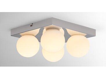 Apollo, luminaire LED de salle de bain carré à 4 ampoules, fini chromé et verre opale
