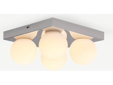 Apollo, plafonnier LED de salle de bain à 4 ampoules, fini chromé et verre opale