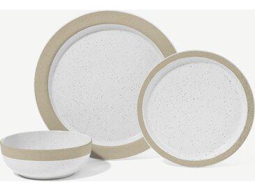 Sindri, service de 12 pièces à glaçure mouchetée et bordure naturelle, blanc et naturel