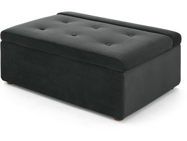 Ilma, ottomane convertible en lit 1 place, velours gris nuit