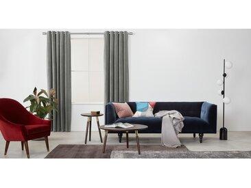 Julius, une paire de rideaux à œillets doublés en velours 168 x 228 cm, gris argenté