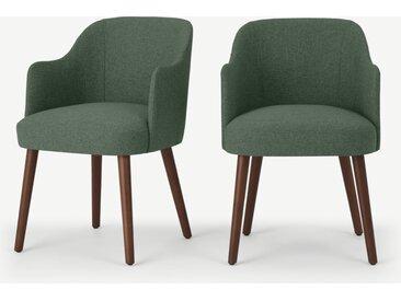 Swinton, lot de 2 chaises à accoudoirs, vert Darby et bois teinté noyer