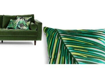 Jangala, coussin brodé 40 x 40 cm, feuilles vertes