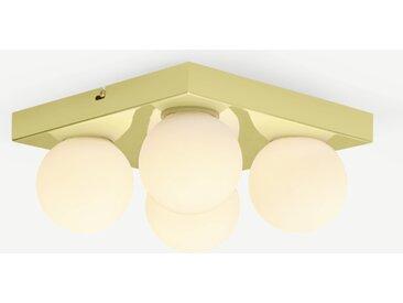Apollo, luminaire de salle de bain carré à 4 ampoules, laiton brossé et verre opale
