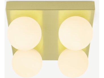 Apollo, luminaire de salle de bain carré à 4 ampoules, laiton brossé et verre dépoli