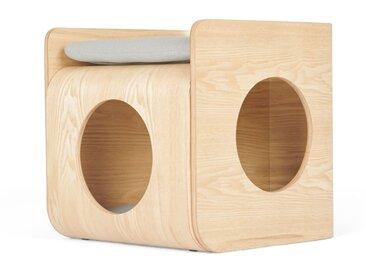 Kyali, lit cube pour chat, frêne naturel et gris