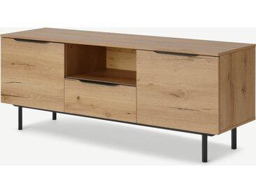 Damien, grand meuble TV, effet chêne vieilli et métal noir