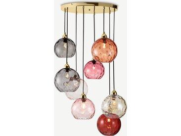 Ilaria, très grande suspension 8 ampoules, verre teinté tons de rose et laiton
