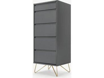 Elona, commode haute 4 tiroirs avec coiffeuse et miroir intégrés, gris charbon et laiton