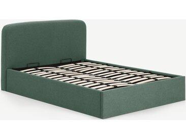 Besley, lit coffre double (140 x 200) avec sommier à lattes, vert baie